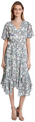Tahari ASL Smocked Tea Length Dress (Ivory/Pink Lilac) Women's Dress