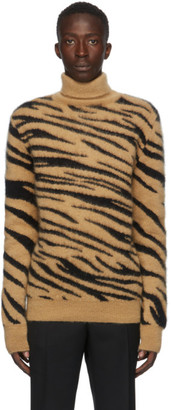 Paco Rabanne Tan and Black Brushed Mohair Tiger Turtleneck