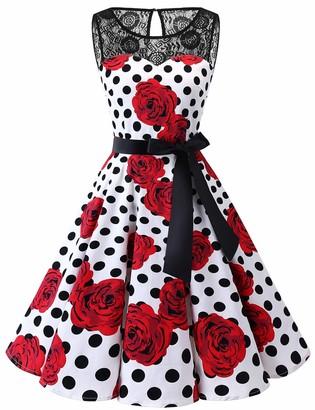 bbonlinedress Retro Vintage Dresses for Women 1950 Elegant Floral Rockabilly Cocktail Swing Party Dress Burgundy M