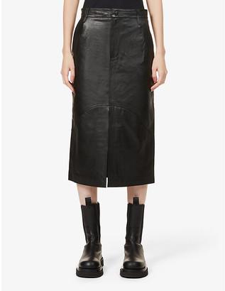 REMAIN Birger Christensen Bocca high-waisted leather midi skirt