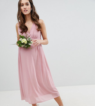 TFNC Maternity Wrap Front Midi Bridesmaid Dress With Tie Back