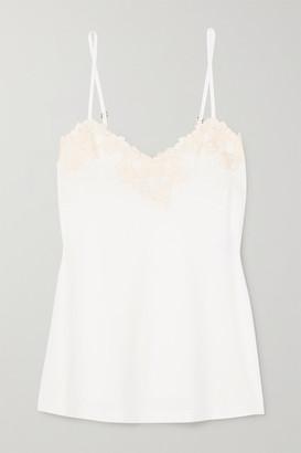 La Perla Brenda Lace-trimmed Satin-jersey Camisole - White