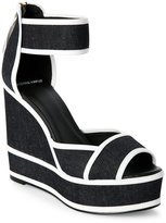 Pierre Hardy Black & White Denim Platform Wedge Sandals
