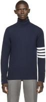 Thom Browne Navy Striped Cashmere Turtleneck