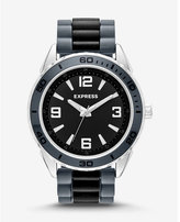 Express striped silicone strap watch - black & gray