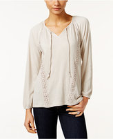 Style&Co. Style & Co Petite Crochet-Trim Peasant Top, Only at Macy's