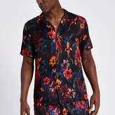River Island Mens Black floral fish short sleeve revere shirt