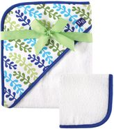 Baby Vision Hudson Baby® Hooded Towel and Washcloth Set in Blue and Lime