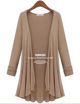 QZUnique Women's Plus-size Basic Long Sleeve Multiple Color Cardigan 3XL