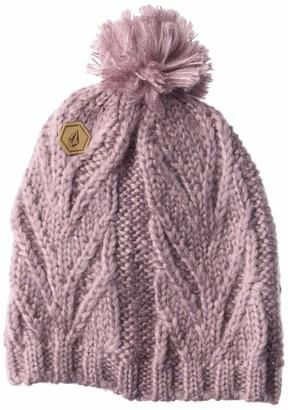 Volcom Women's Classic Fit Leaf Pattern Snow Beanie - Purple - One Size