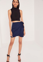 Missguided Side Tie Wrap Mini Skirt Blue
