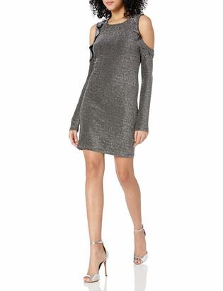 J.o.a. Women's Ruffle Cold Shoulder Dress
