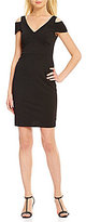 Calvin Klein V-Neck Short Sleeve Cold-Shoulder Solid Sheath Dress