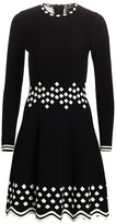 Lela Rose Diamond Jacquard Knit Long-Sleeve Dress