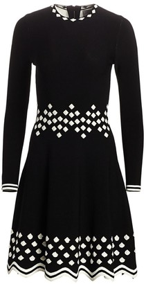 Lela Rose Diamond Jacquard Knit Long-Sleeve Dress