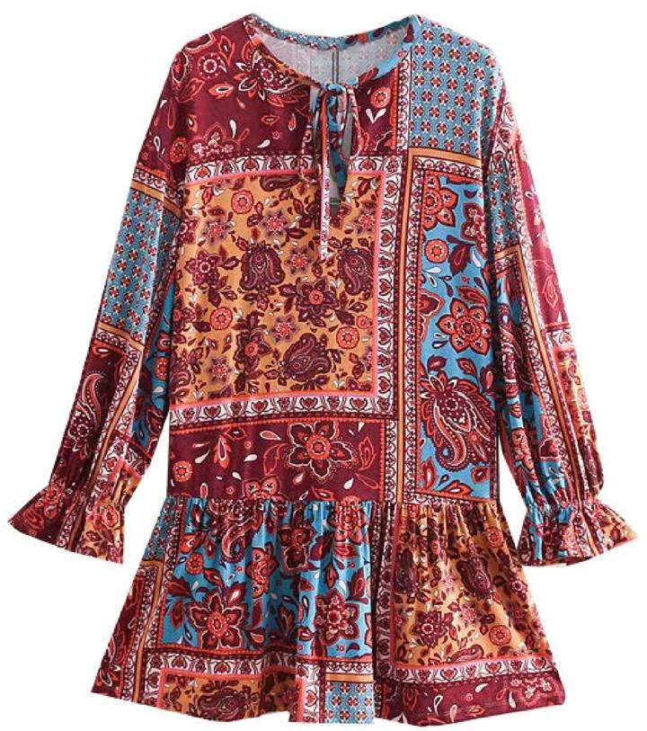 Goodnight Macaroon 'Amaya' Paisley Print Ruffled Mini Dress