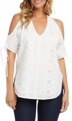 Karen Kane Cotton Eyelet Cold Shoulder Top