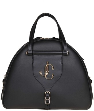 Jimmy Choo Varenne Bowling M Hand Bag In Black Leather
