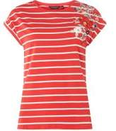 Dorothy Perkins Womens Red Striped Embroidered T-Shirt