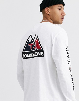 Tommy Jeans usa mountain logo back print long sleeve top in white