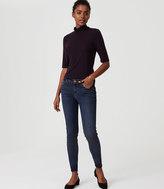LOFT Modern Frayed Skinny Jeans in Pure Mid Indigo Wash