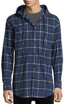 Balenciaga Hooded Plaid Flannel Button-Down Shirt, Blue