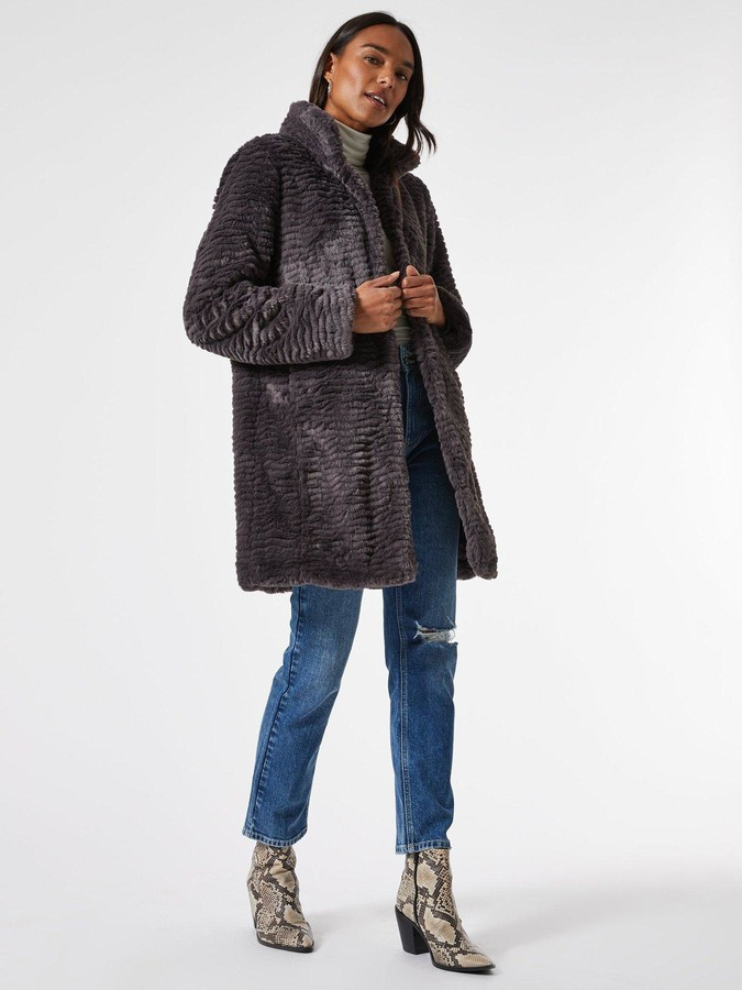 Thumbnail for your product : Dorothy Perkins Funnel Collar Textured Longline Faux Fur Coat -Grey
