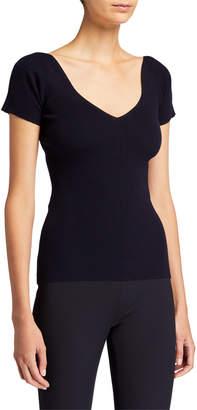 The Row Tain Merino-Cashmere Short-Sleeve Sweater