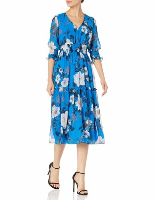Taylor Dresses Women's Smocking Trim Floral Chiffon Dress