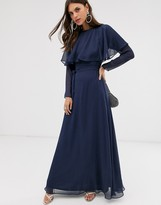Asos Design DESIGN long sleeve cape back maxi dress with tie waist