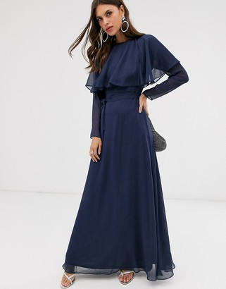 Asos Design DESIGN long sleeve cape back maxi dress with tie waist-Blue