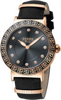 Ferré Milano Women's 38mm Stainless Steel Watch with Leather Strap, Rose/Black