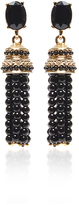 Oscar de la Renta Black Beaded Tassel Earrings