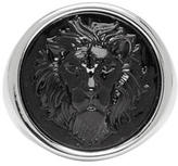 Versus Silver and Black Round Lion Ring