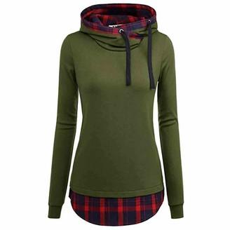 Toamen Women's Tops Womens Tops Toamen Clothes Sale Oblique Collar Plaid Patchwork Long Sleeve Hooded Shirt Blouse Jumper T-ShirtGreen 10