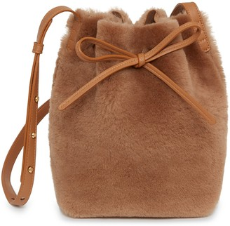 Mansur Gavriel Shearling Mini Bucket Bag - Camel