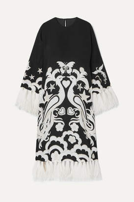 Valentino Feather-trimmed Printed Silk-crepe Midi Dress - Black