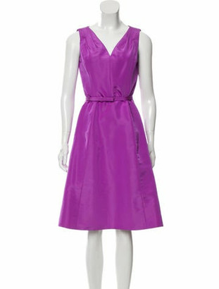 Oscar de la Renta Silk Knee-Length Dress w/ Tags Violet