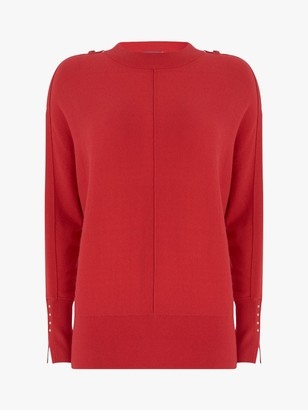 Mint Velvet Buttoned Batwing Jumper, Red