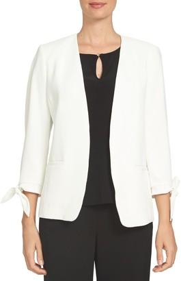 Cece By Cynthia Steffe Tie Sleeve Open Front Blazer