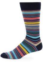 Saks Fifth Avenue Jaspe Large Striped Cotton-Blend Socks