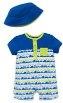 Offspring Baby Boys Car Print Shortall and Hat Set