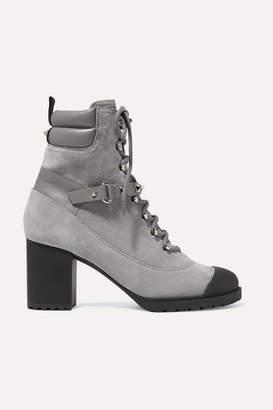 Valentino Garavani Rockstud 95 Leather-trimmed Suede Ankle Boots - Light gray