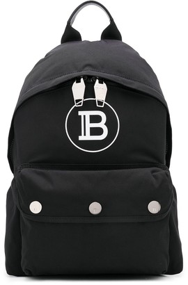 Balmain B logo print backpack