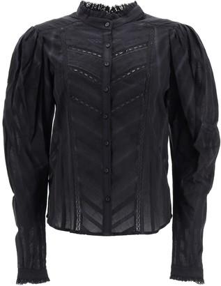 Etoile Isabel Marant REAFI LACE SHIRT 36 Black Cotton