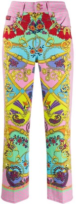 Versace Jeans Couture Baroque Print Straight-Leg Jeans