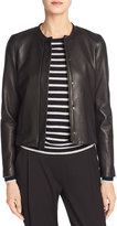 Vince Leather Collarless Zip-Front Jacket, Black