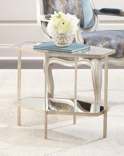 "Global Views Valeria Hexagon Side Table, 21""T"