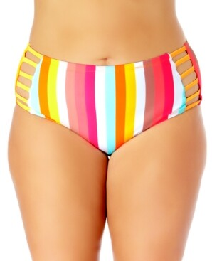 California Waves Plus Size Strappy Swim Bottoms, Created for Macy's Women's Swimsuit
