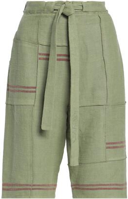 J.W.Anderson Tie-front Patchwork Linen Shorts